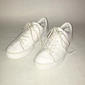 Toms Lenox White Leather Lace Up Sneakers 10